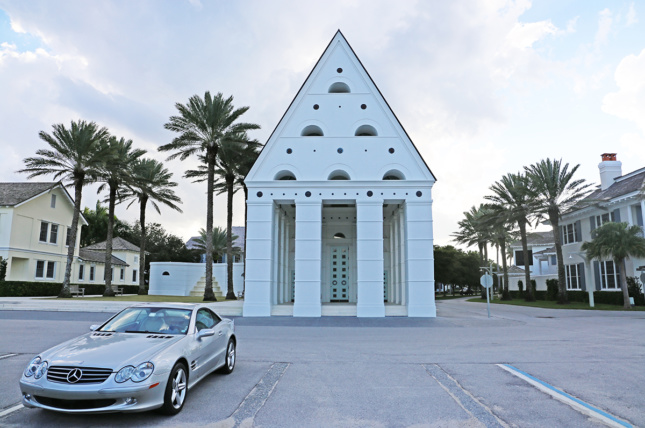 Photo of Windsor, Florida's chapel with a Mercedes-Benz car parked in front of it