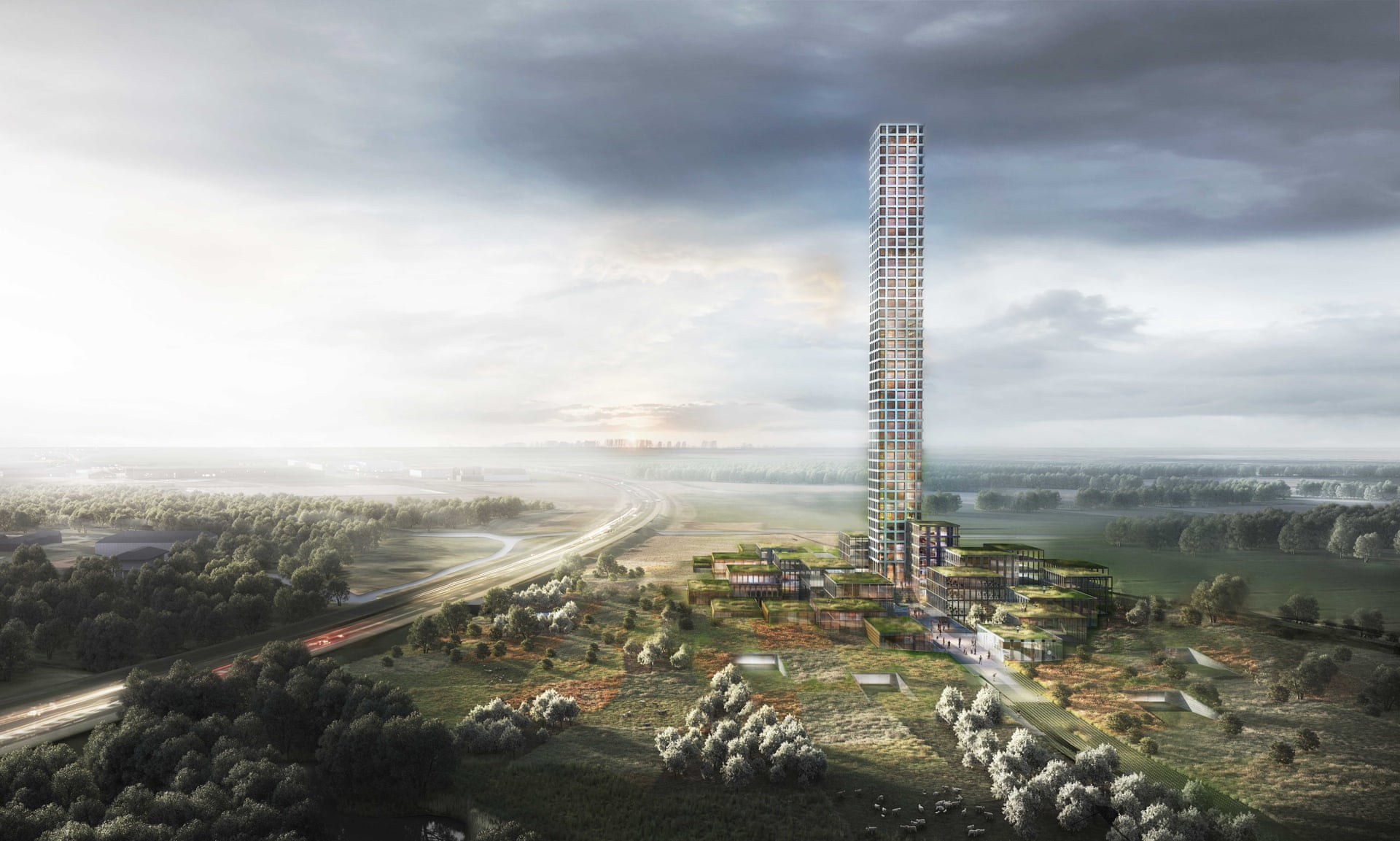 Rendering of a tower in a field