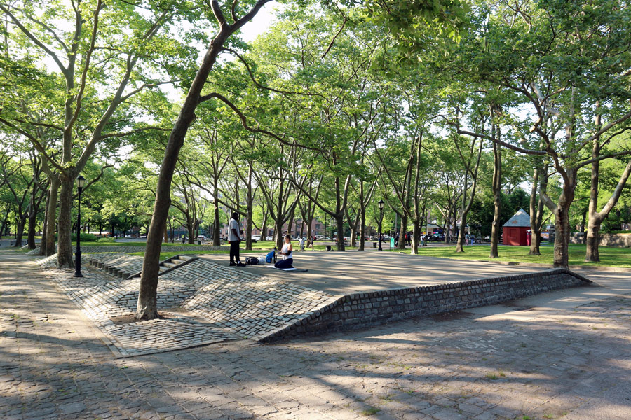 Cobblestone mounds in a park