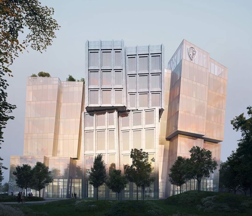 Rendering showing one building with a glass skin and irregular massing