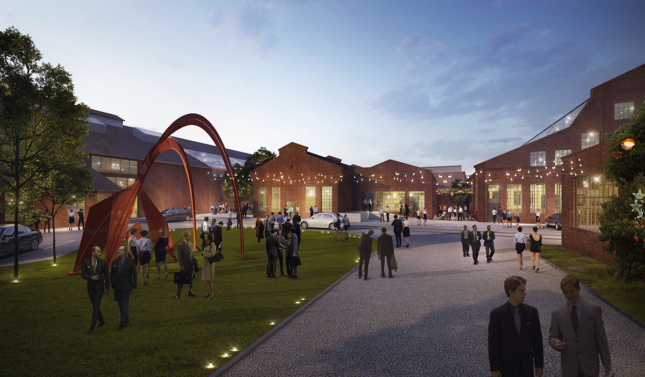 Close up rendering of Pullman Yard art piece and courtyard at night