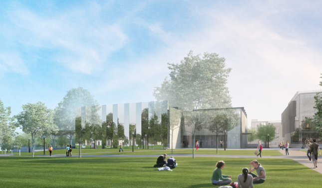 Exterior rendering of Kemper Art Museum in St. Louis with reflective mirror panels
