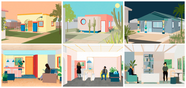 Illustrations of three different ADUs showing interiors and exteriors