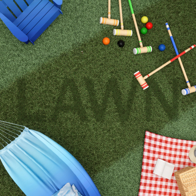 Rendering of a lawn with a picnic blanket, hammock, and croquet mallets