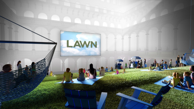 Rendering of people assembled on an indoor lawn, watching a projection