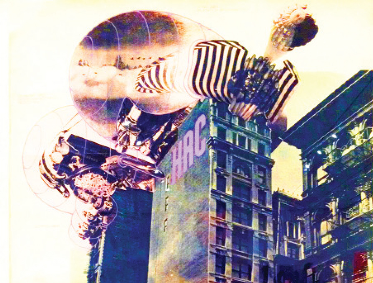 Scanned collage of inhabitable bubbles attached to the top of an New York apartment building