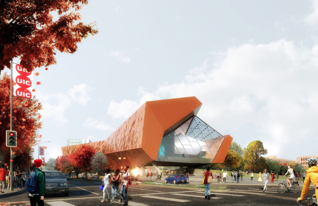 Rendering of an arts center at University of Illinois at Chicago
