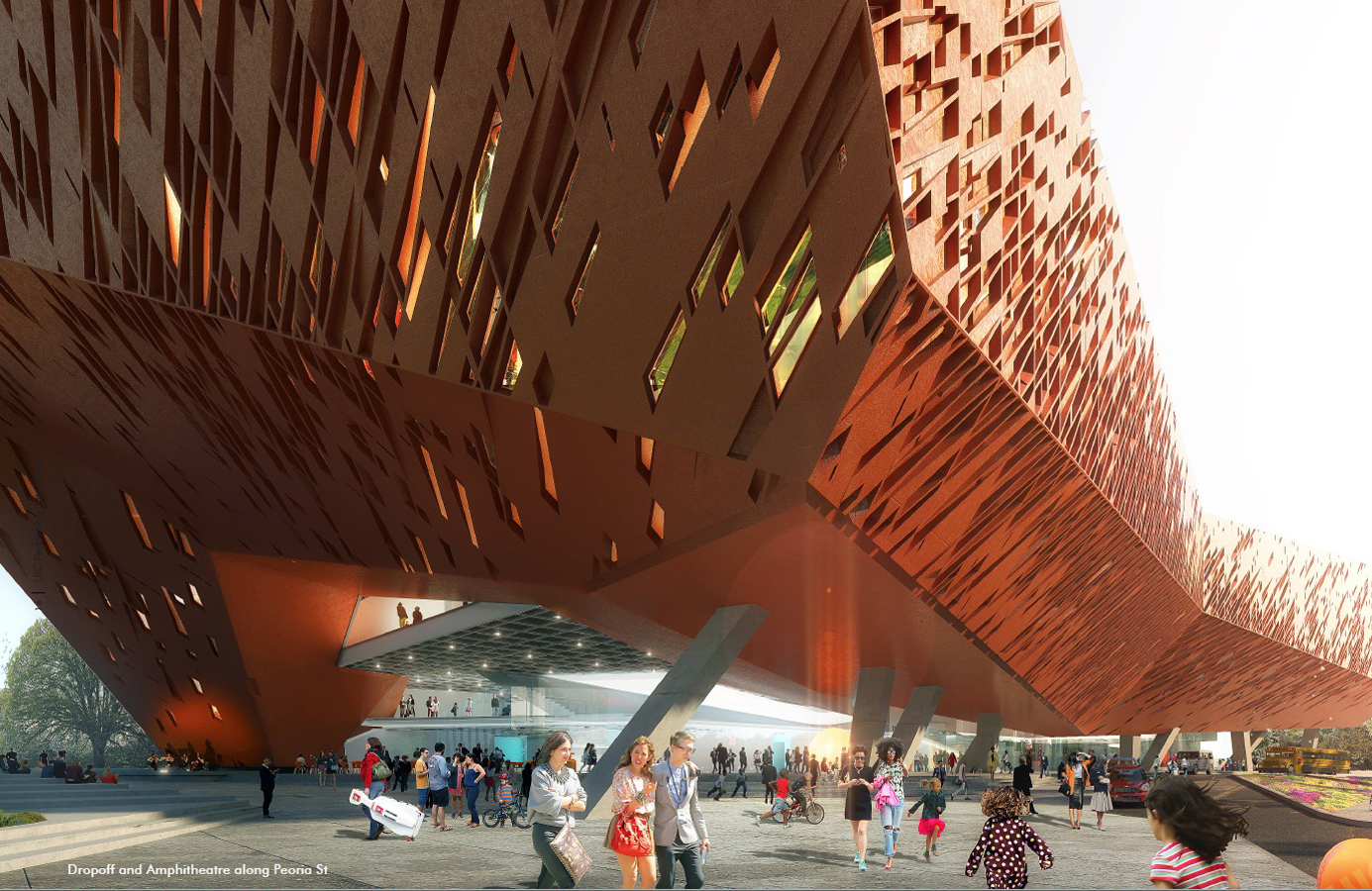 Rendering of an orange building with a perforated skin