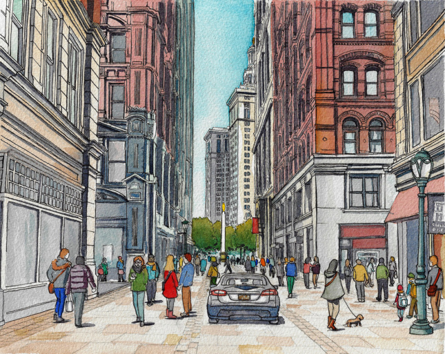 Pen and watercolor illustration of a car sharing a city street with pedestrians