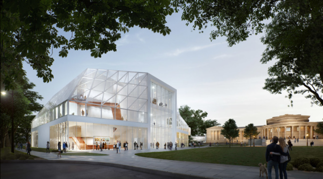 Rendering of a white steel and glass building on a lawn