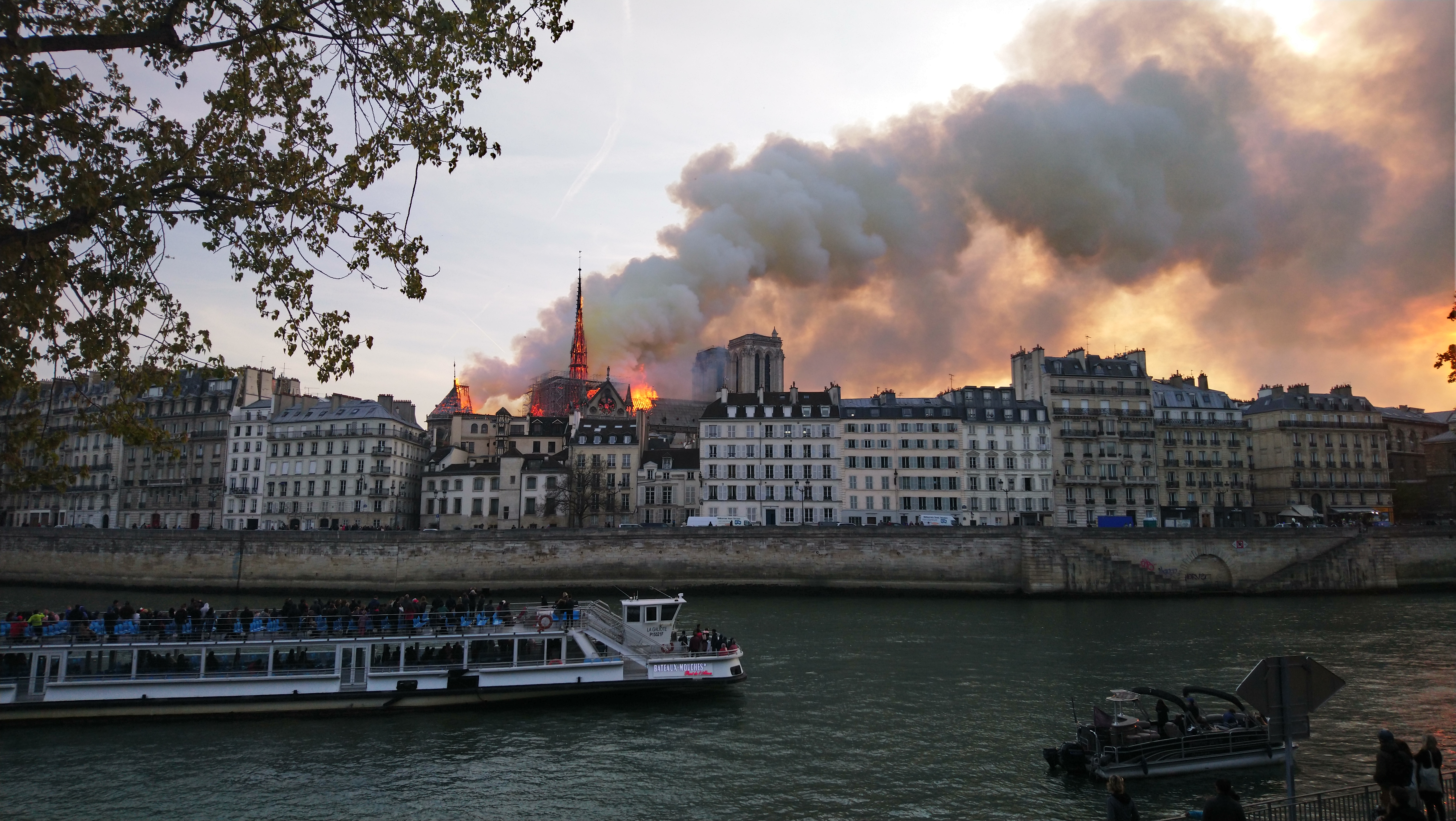 Photo of the Notre Dame Cathedral burning in Paris