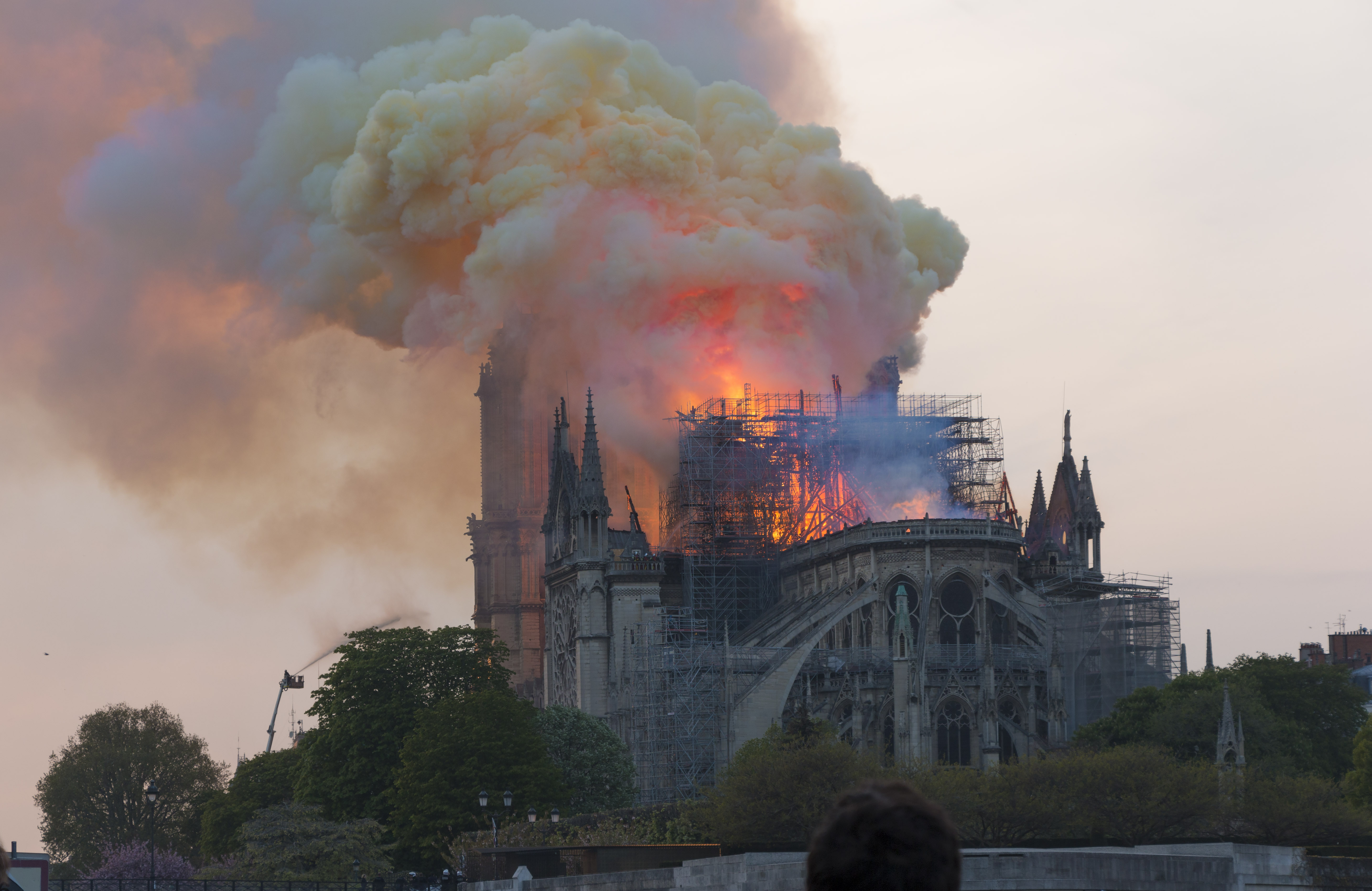 Photo of Notre Dame Cathedral on fire