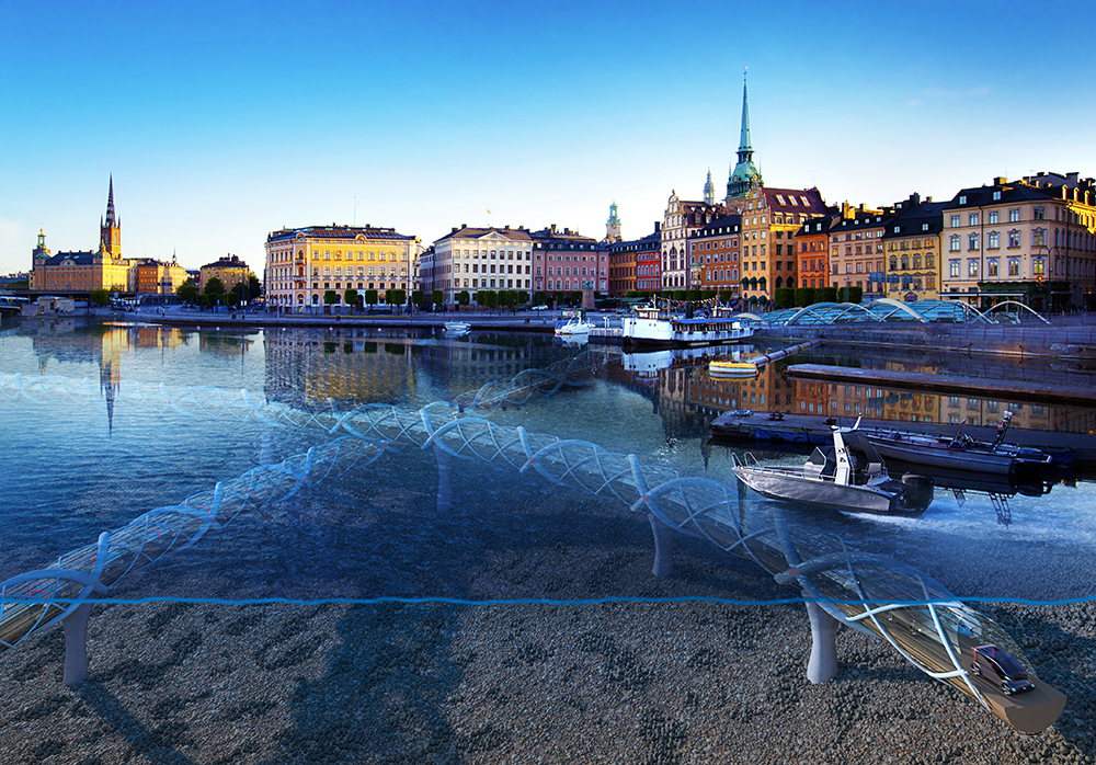 The coastal side of Stockholm with rendered underwater tunnels for autonomous electric vehicles