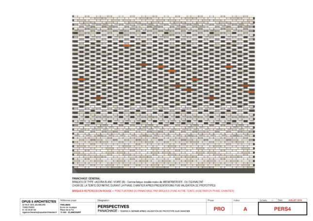 Brick facade diagram showing insertion of differently colored bricks seemingly randomly across a facade portion