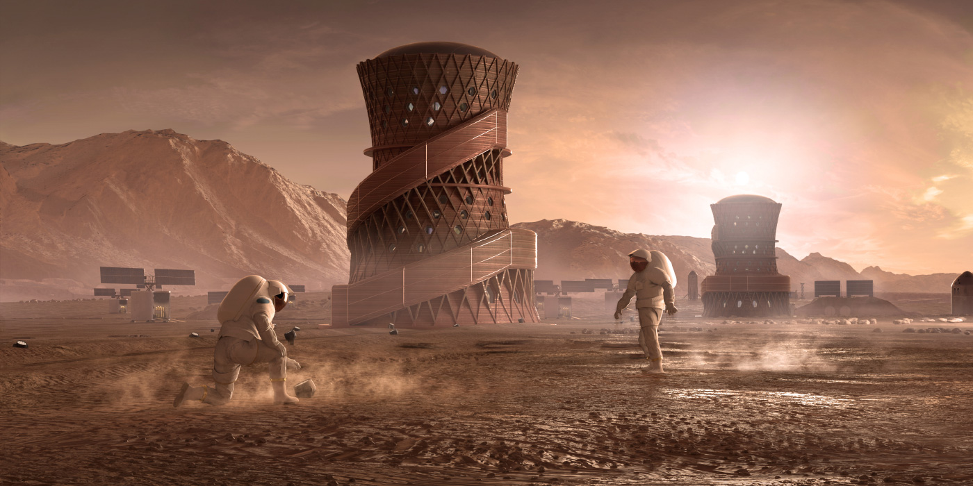Rendering of a hyperboloid tower on Mars with astronauts outside