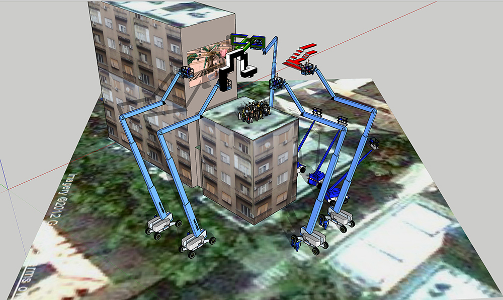 A 3D rendering (viewed in editor) of blue cranes moving objects over a roof that a crowd of people are standing on