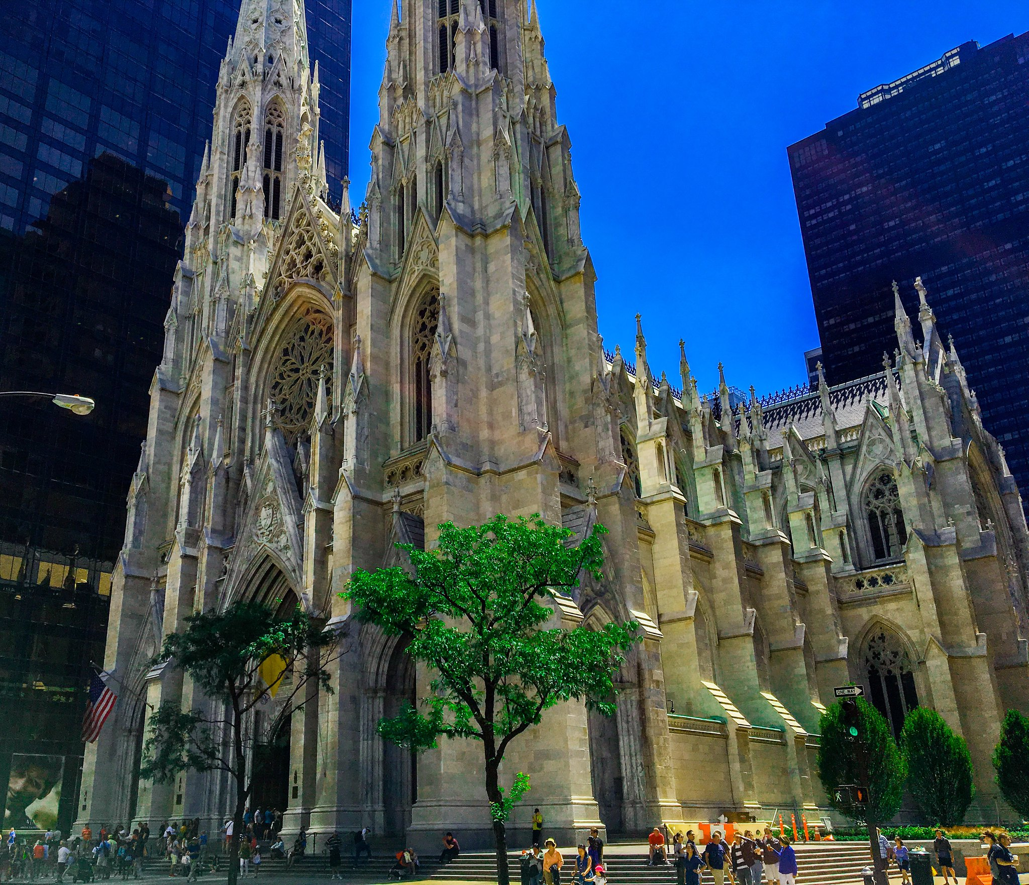 Exterior photo of St. Patrick's Cathedral in New York during summer
