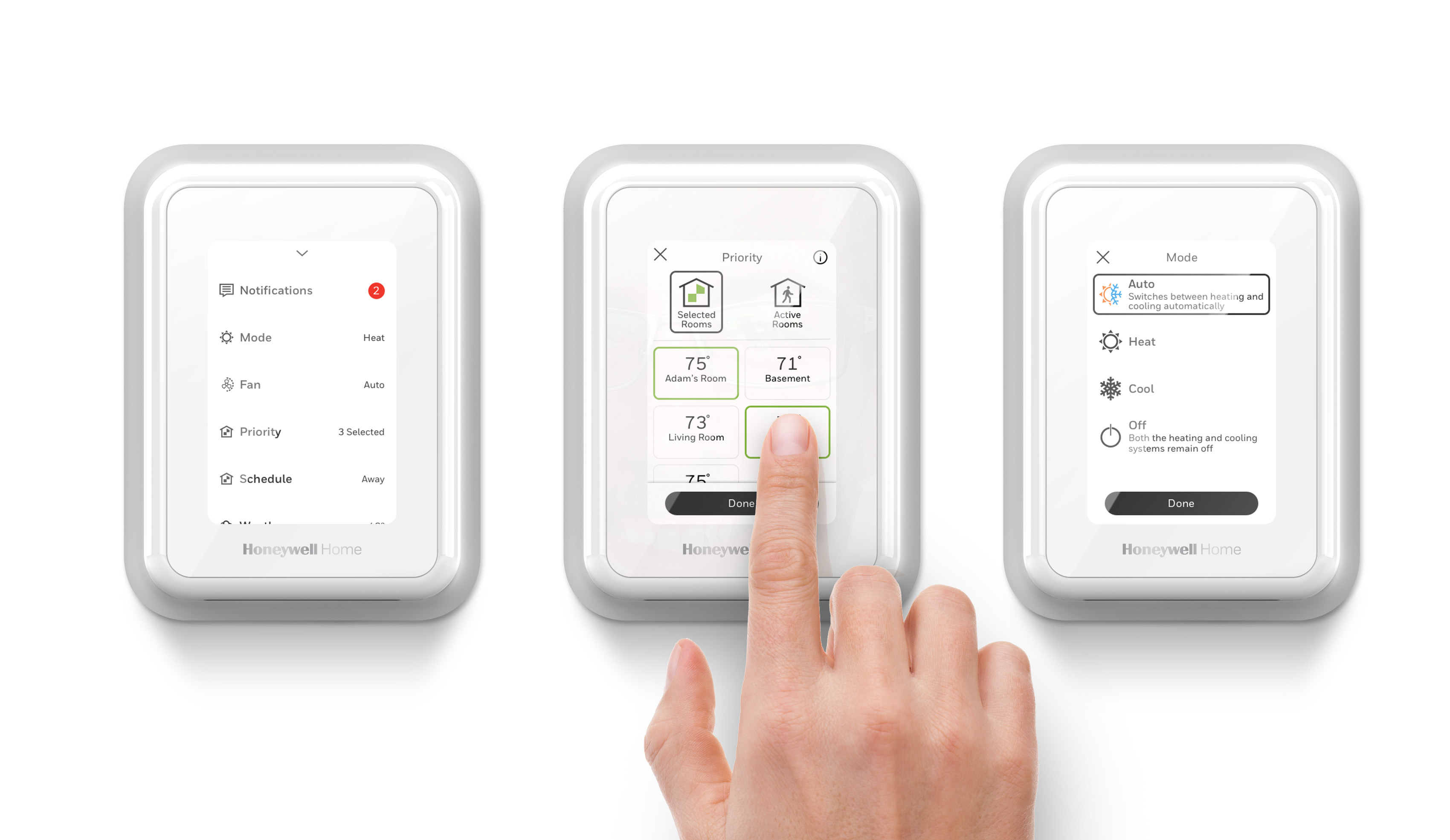 Photo of finger interacting with SiXCOMBO Honeywell Home