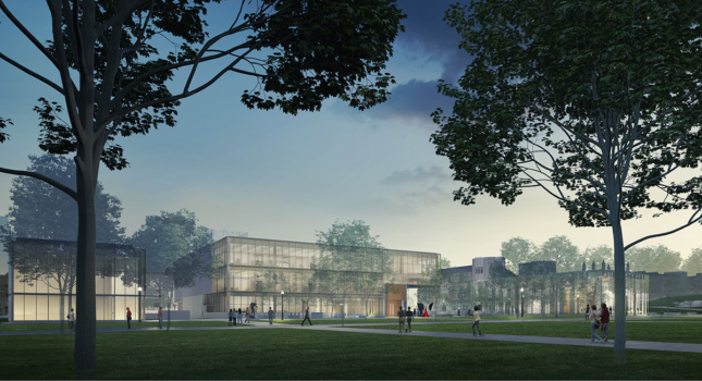 Exterior rendering of Weill Hall with glass structures