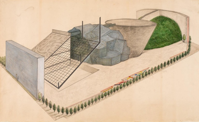 Drawing of an architecture project with a series of connected masses in different styles
