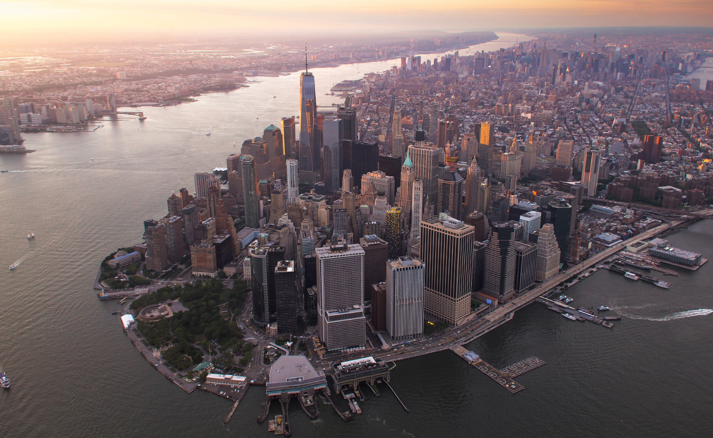 An aerial photo of the southern tip of Manhattan