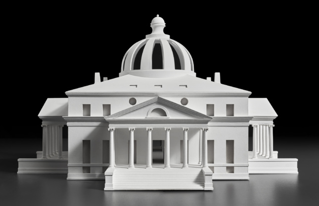 Photo of an architectural model of a neoclassical house
