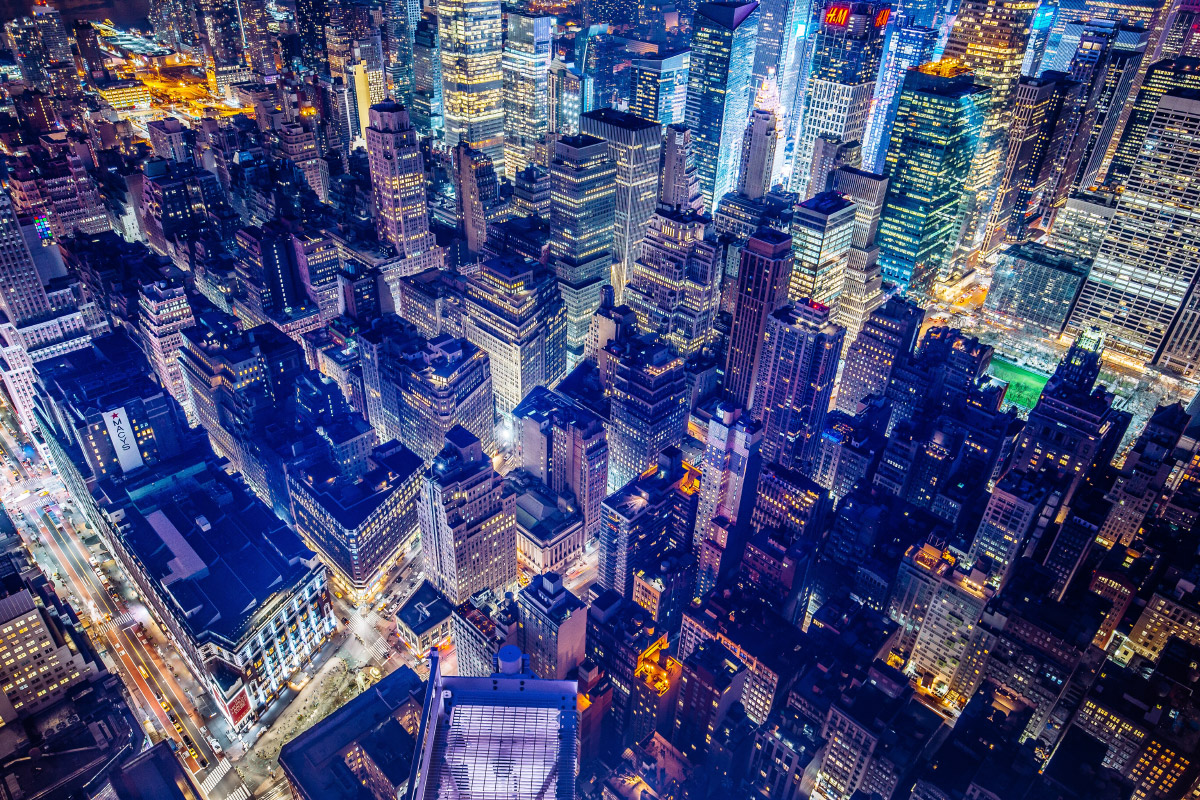 An aerial photo of New York City at night