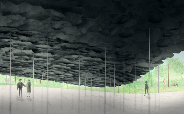Rendering of people huddled below a stone canopy