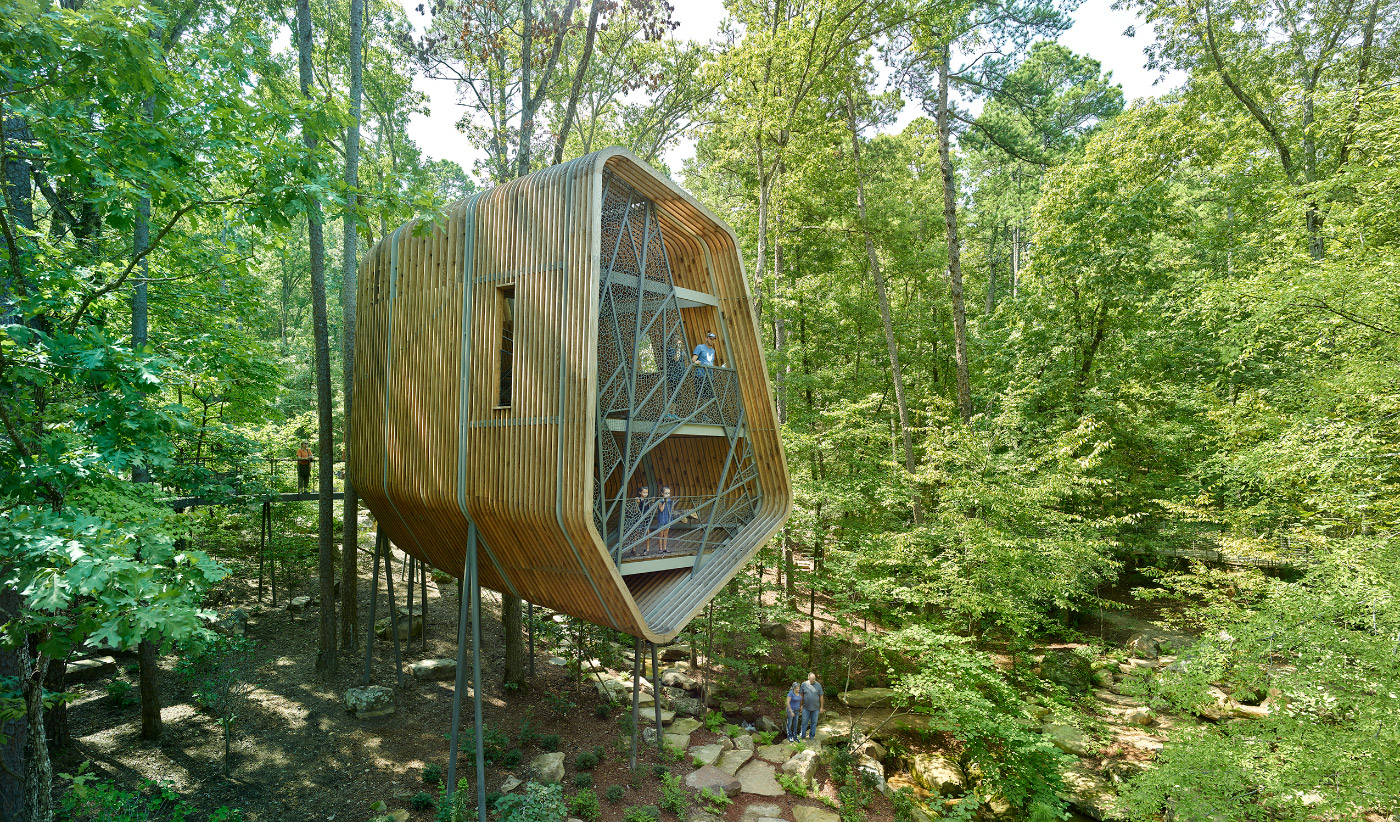 Photo of a two-story treehouse in a green forest