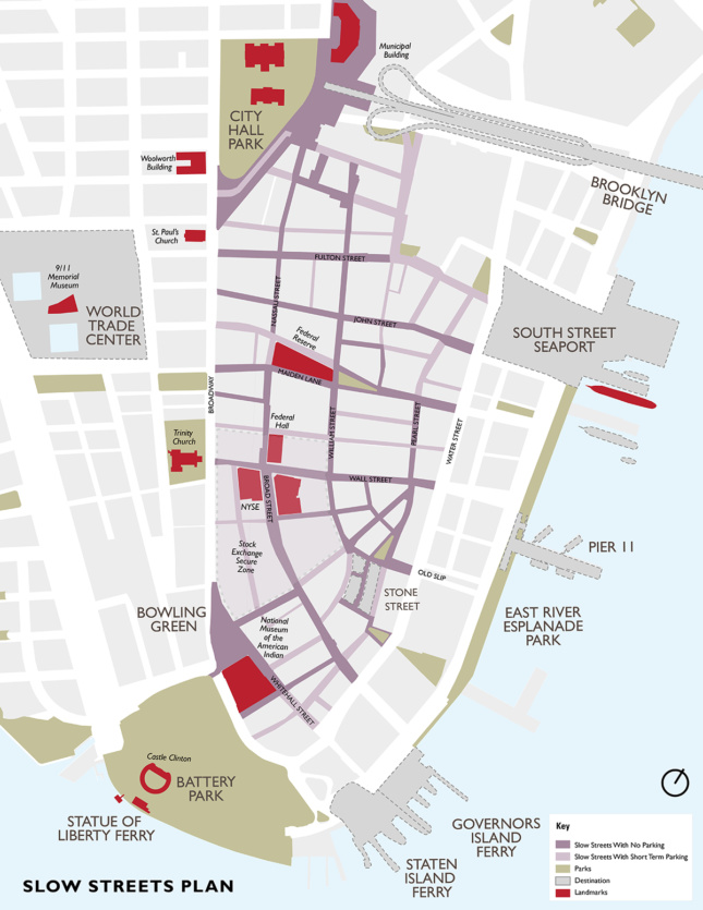 Street map showing shared streets between Water Street and Broadway in Lower Manhattan