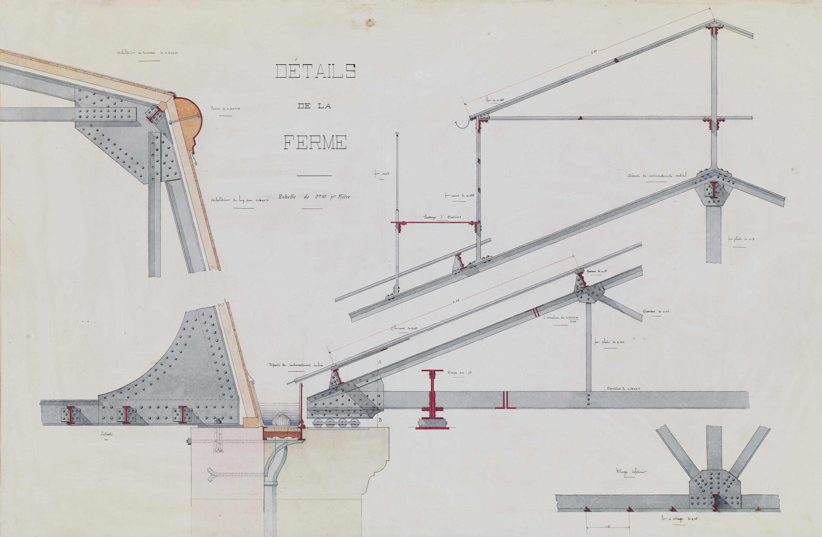 Colored section detail drawings of an ironwork roof truss labeled in French