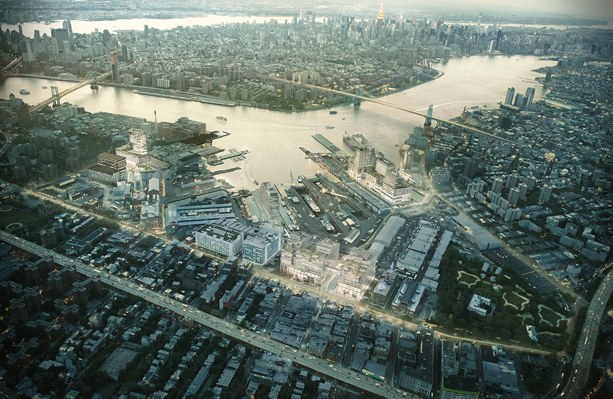 Aerial rendering of Brooklyn Navy Yard showing proposed manufacturing and tech buildings
