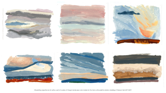 Scans of six abstract oil paintings of the Oregon landscape