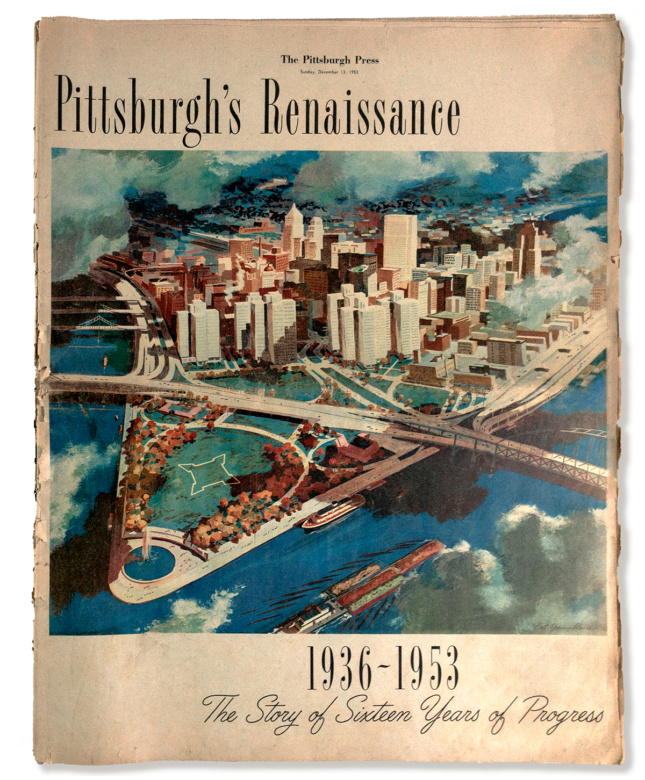 Photo of a worn magazine cover with an illustrated birds eye view of downtown Pittsburgh