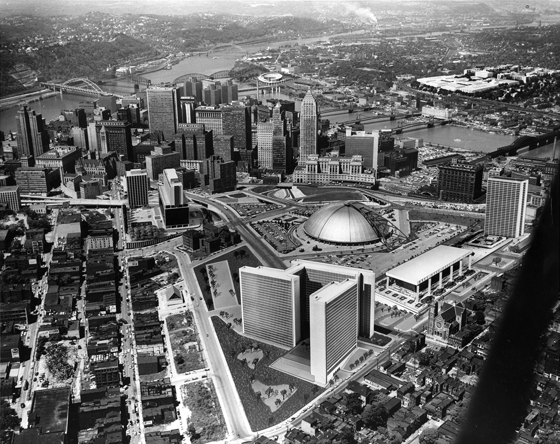 Aerial photograph of Pittsburgh skyline with collaged in building designs