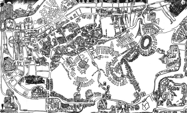 Abstract, hand-drawn map of buildings and streets