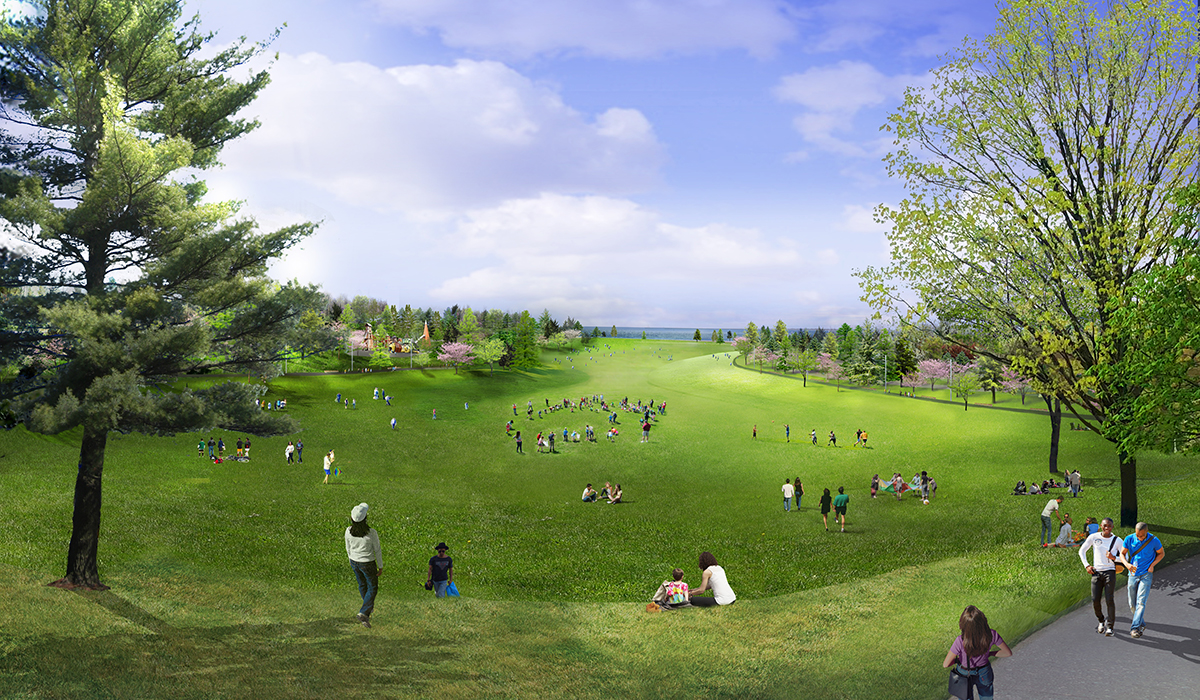 Rendering of a great lawn looking out over lake