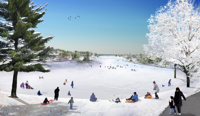 Rendering of people sledding on park hill