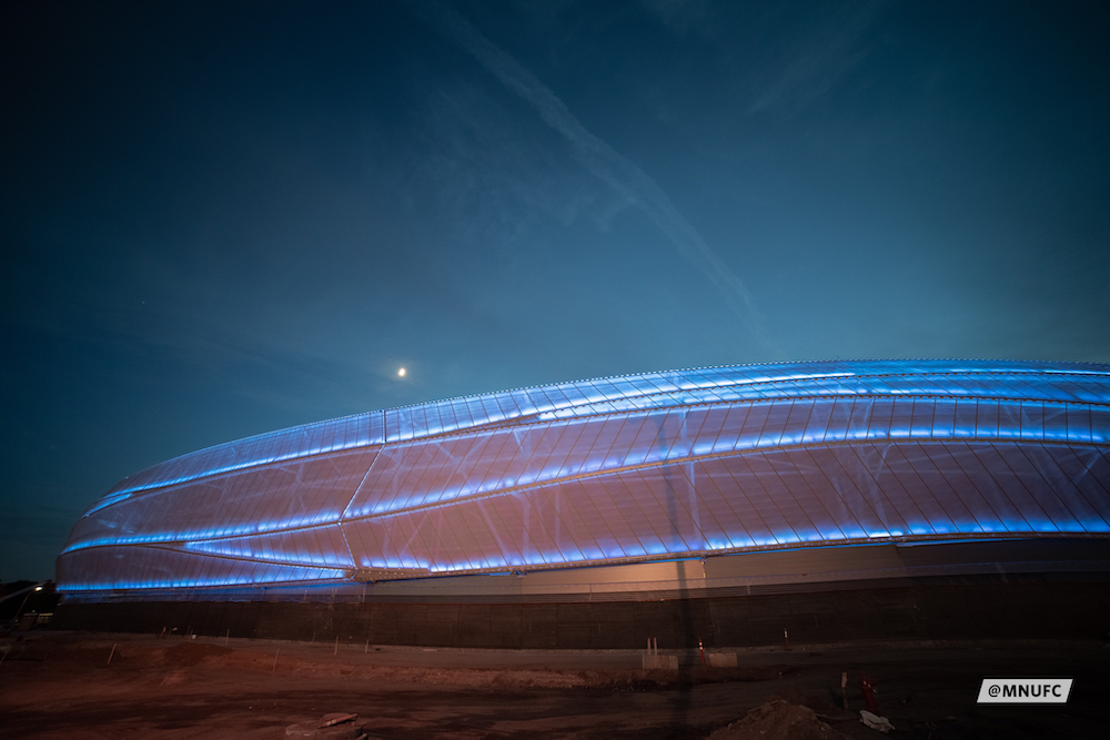 Exterior nighttime image of Allianz Field
