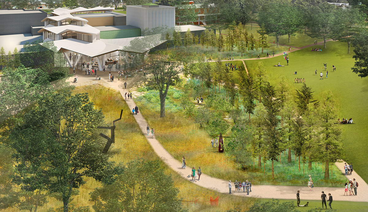 Aerial view of park connecting path to museum