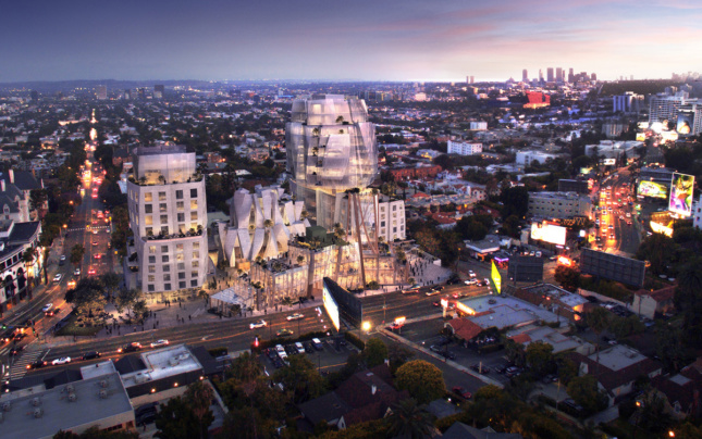 Rendering of 8150 Sunset towers in Los Angeles