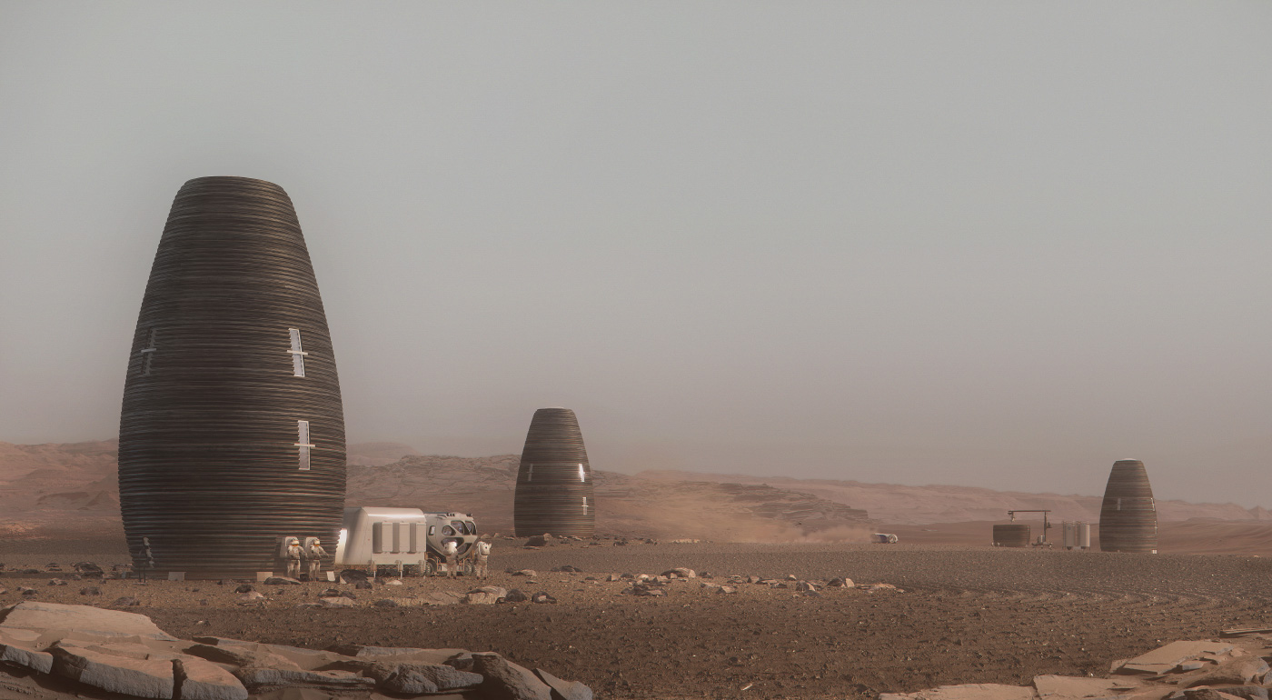 Rendering of a colony of egg-shaped structures on the barren Martian surface