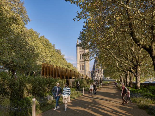 Rendering of Victoria Gardens with memorial sticking out of plantings