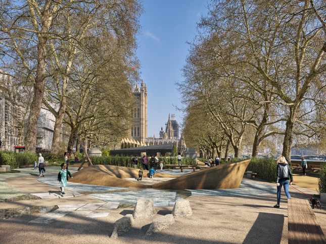 Rendering of Holocaust memorial in Victoria Gardens with Houses of Parliament in the background