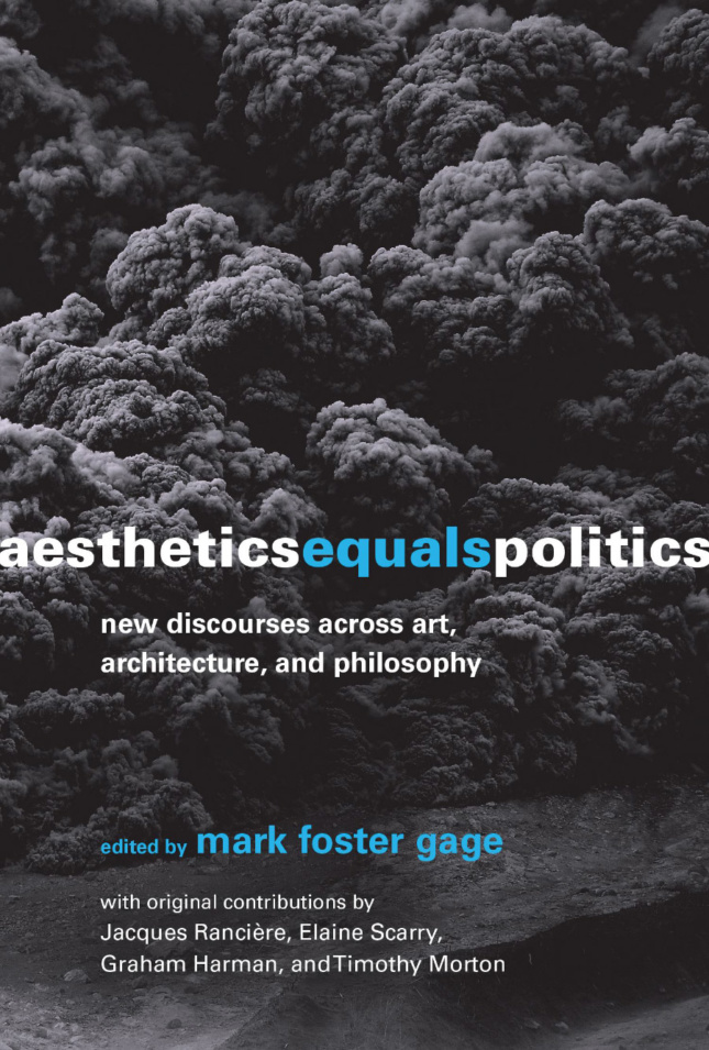"""A cloud of black smoke, with the words """"Aesthetics equals politics"""" in front"""
