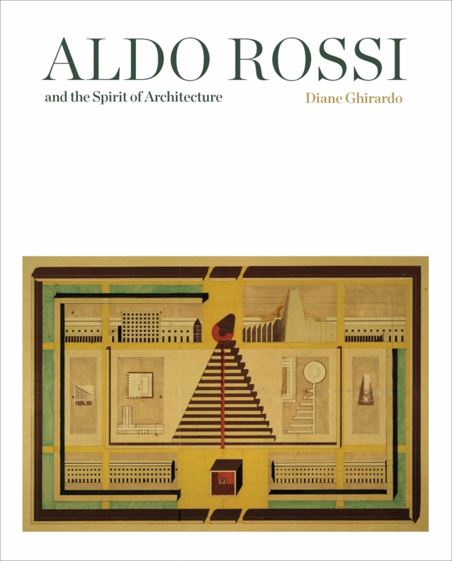 """A white cover with floor plans at the bottom, and the name """"Aldo Rossi"""" at the top"""