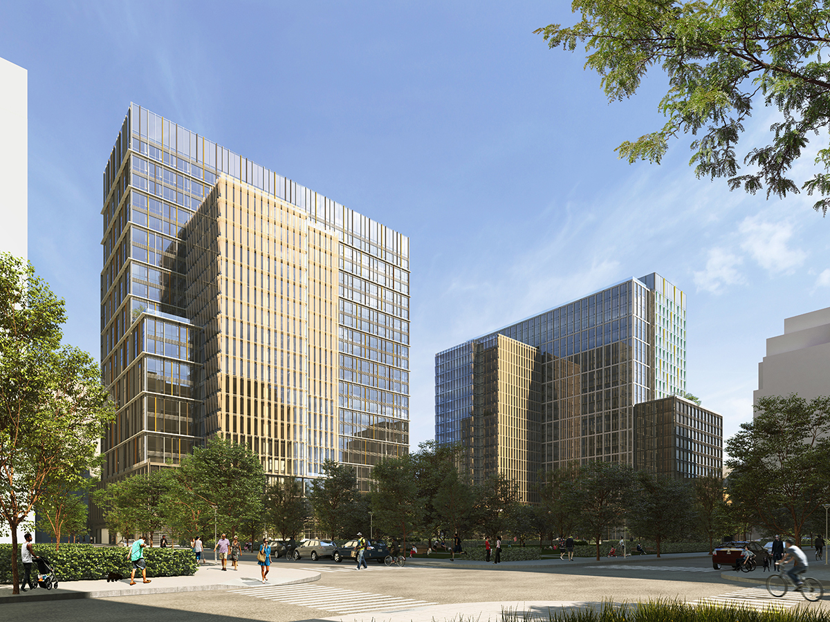 Rendering of two glassy buildings and park