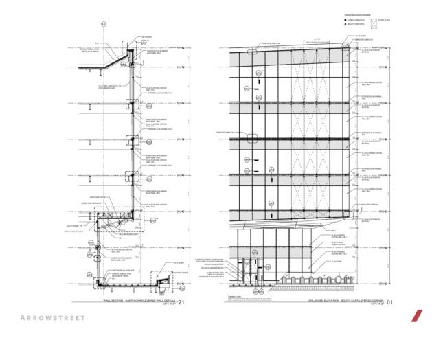 Heavily annotated section and elevations of Congress Street addition