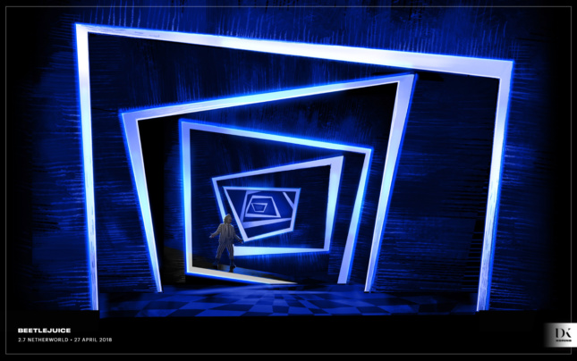 Rendering of a hyper-angular set with white and blue lights forming a tunnel