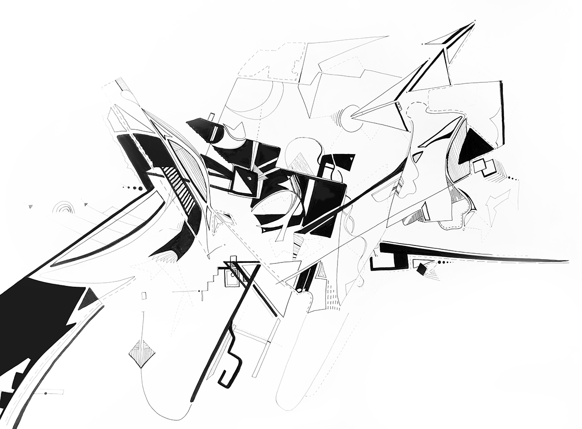 Black and white drawing by Hans Koesters showing a variety of line fragments mixed together